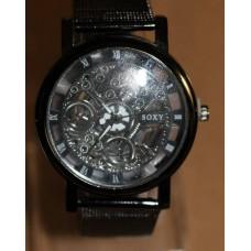 Black steampunk skeleton watch
