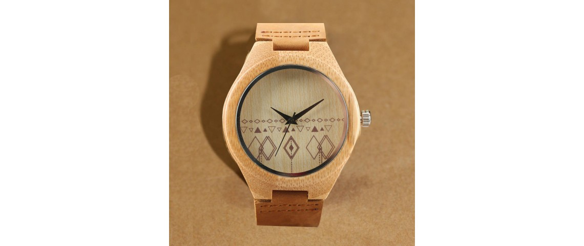 Bamboo Wood Watch with Diamond Pattern Face