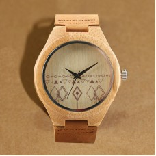 Wooden Bamboo Watch with Diamond Design