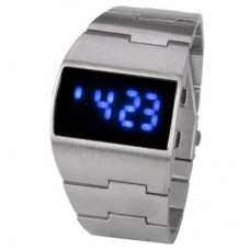Brushed and Matte Stainless Steel Arch Dial LED Watch