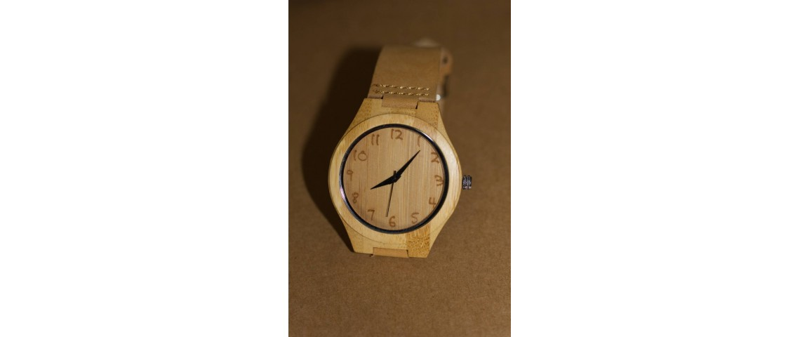 Bamboo Wood Watch with Etched Numbers