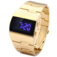 Popular Blue LED Sports Watch in Gold