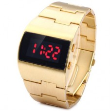 Popular Red LED Sports Watch in Gold