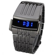 Blue LED Digital Display Men Sporting Watch in Grey