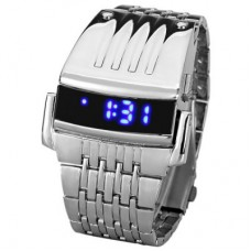 Blue LED Digital Display Men Sporting Watch in Silver